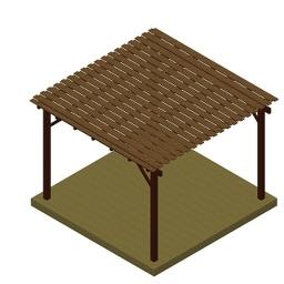 Ξύλινη πέργκολα με διπλή τάβλα